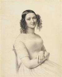 portrait de mademoiselle rosalie à mi-corps assise, les mains croisées by hyacinthe louis victor aubry-lecomte