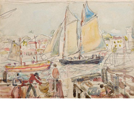 boats in harbor by maurice brazil prendergast