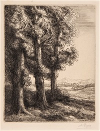 pastoral scenes (group of 9 works) by alphonse legros