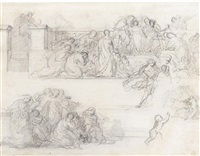 compositional study with figures on a terrace (+ slight sketches of women and children, black chalk, verso) by pierre andrieu