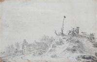 landschap met figuren op heuvel bij een boerderij by jan josefsz van goyen