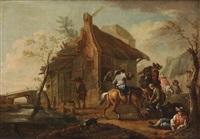 chevaliers près d'une auberge by august querfurt