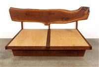 headboard with plank back and platform by mira nakashima-yarnall