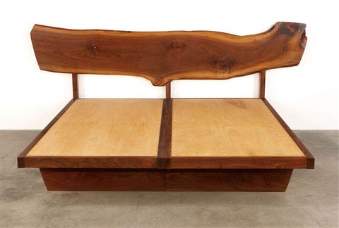 headboard with plank back and platform by mira nakashima yarnall