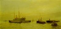 warship at sea by edward henry eugene fletcher