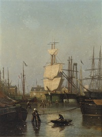 oosterpark, amsterdam: shipping in amsterdam harbour by johan conrad greive