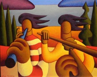 two musicians by the green lake by alan kenny