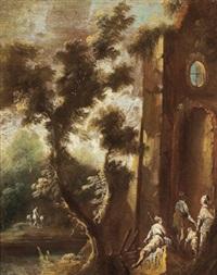 paesaggio con rovine e figure by angeluccio