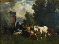 troupeau près du moulin by emile van marcke de lumen