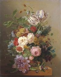 an exuberant flower still life by arnoldus bloemers