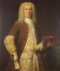 portrait of a nobleman, three-quarter-length, in a brown coat and gold and silver embroidered waistcoat, standing beside a baron's coronet on a table by john theodore heins sr.
