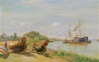 the mekong river. the steamship annam on saigon by vilhelm karl ferdinand arnesen