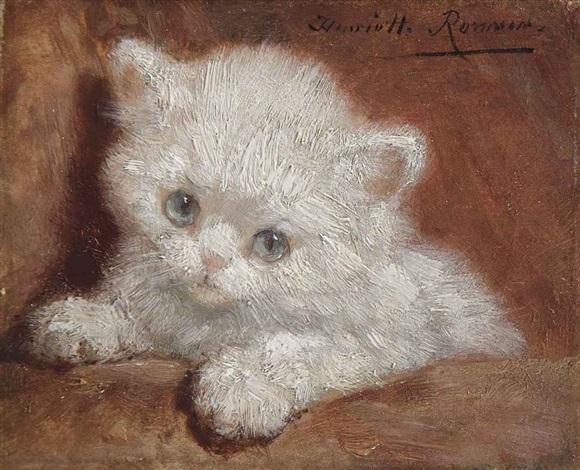 a white kitten by henriette ronner-knip