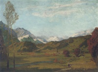 figures walking by a church in an alpine landscape by carl oskar arends