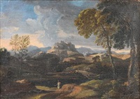 a classical figure in an italianate landscape, mountains on the horizon by johannes (jan) glauber