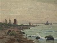 felsenküste mit segelbooten by alfred rasenberger