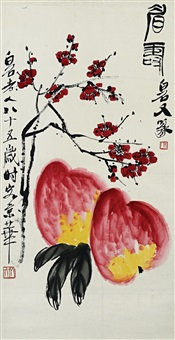 blossoming plum branch and two peaches by qi baishi