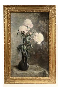 still life of white peonies in a black jar by marie-lucie cornelius