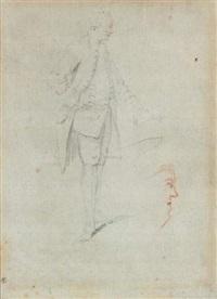 homme en habit du xviiième siècle, étude d'un visage de profil (study) by michel barthelemy olivier