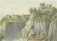 the temple of sibyl, with the falls of tivoli below by john warwick smith