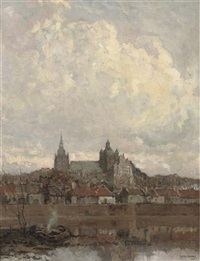 the skyline of 's-hertogenbosch with the st. jan cathedral by frans slager
