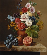 still life of flowers with pomegranates and grapes by jan van der waarden
