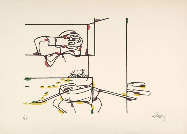 etude pour la porte de brandebourg et strinberg 2 works by valerio adami