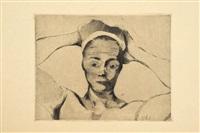 bretonne nue en buste, mains à la tête by armand seguin