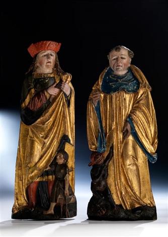 paar hochreliefs männlicher heiligenfiguren pair by hans klocker