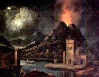 a nocturnal river landscape with figures in a town, a volcano erupting beyond by johann christoph von bemmel