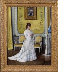 femme en blanc à l'intérieur by alfred stevens