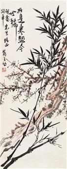 双清图 立轴 设色纸本 (flower and bamboo) by li kuchan