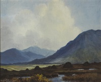 turf stacks, near leenane, connemara by douglas alexander