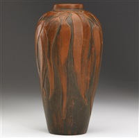 vase with eucalyptus by redlands pottery