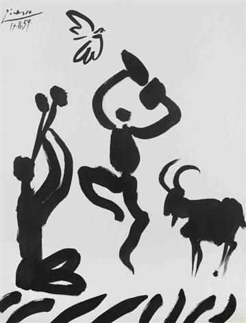 Hibou, Verre et Fleur La Danse du Berger, lithographic facsimile 2 ...