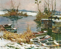étang sous la neige by maurice bismuth lemaître