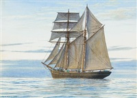 the topsail schooner 'norseman of barnstapl'e drifting in light winds under full sail by mark richard myers