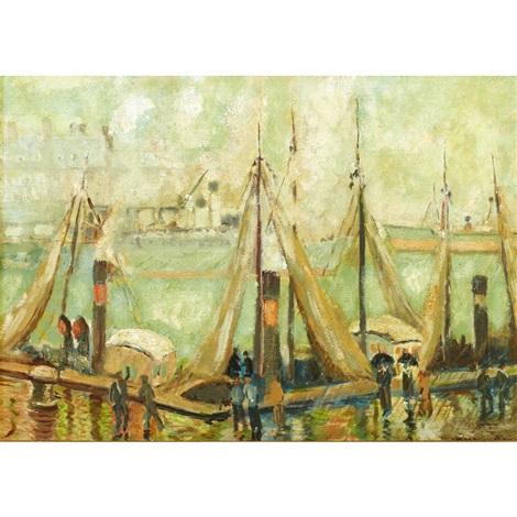 voiliers dans le port dhonfleur by georges manzana pissarro