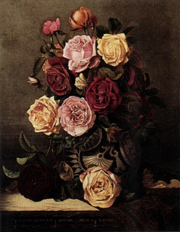still life of roses by charles e baskett