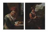 a boy holding a plate with bread, in an interior and a boy with a bird's nest in a landscape (2 works) by antonio mercurio amorosi