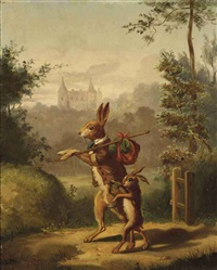 two hares with a knapsack, a castle beyond by bernard de gempt