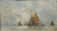 sailing boats near the lagoon by karl leipold