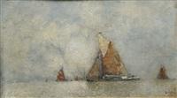 sailing boats near the lagoon by karl leipold