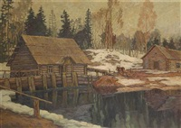 a mill in winter with a horse harnessed to a sledge by vladimir pavlovich shkurkin