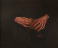 zwei frauenhände (din buch haltend) by wilhelm maria hubertus leibl