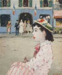 girl with a pink hat box by dietz edzard
