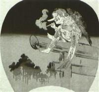 oben auf einem torii sitzt ein karasu-tengu by ogata gekko