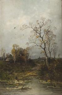 herbstliche landschaft by heinz flockenhaus
