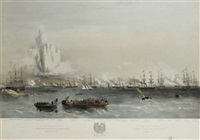 bomarsund, combined attack on the forts, august 15 (+ 2 others; 3 works) by thomas picken