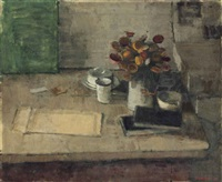 still life with flowers and books on a table by william brooker
